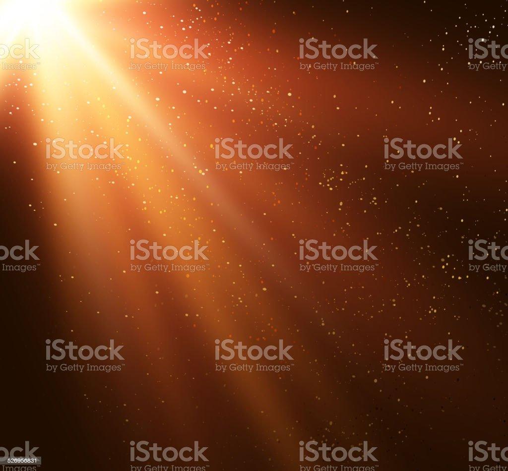 Abstract magic gold light background vector art illustration