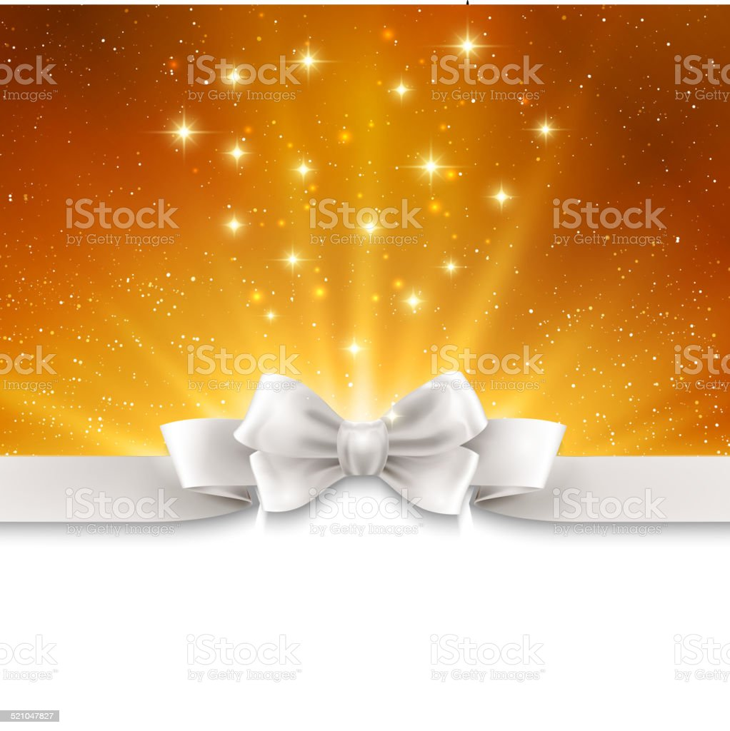 Abstract magic gold light background with white ribbon vector art illustration