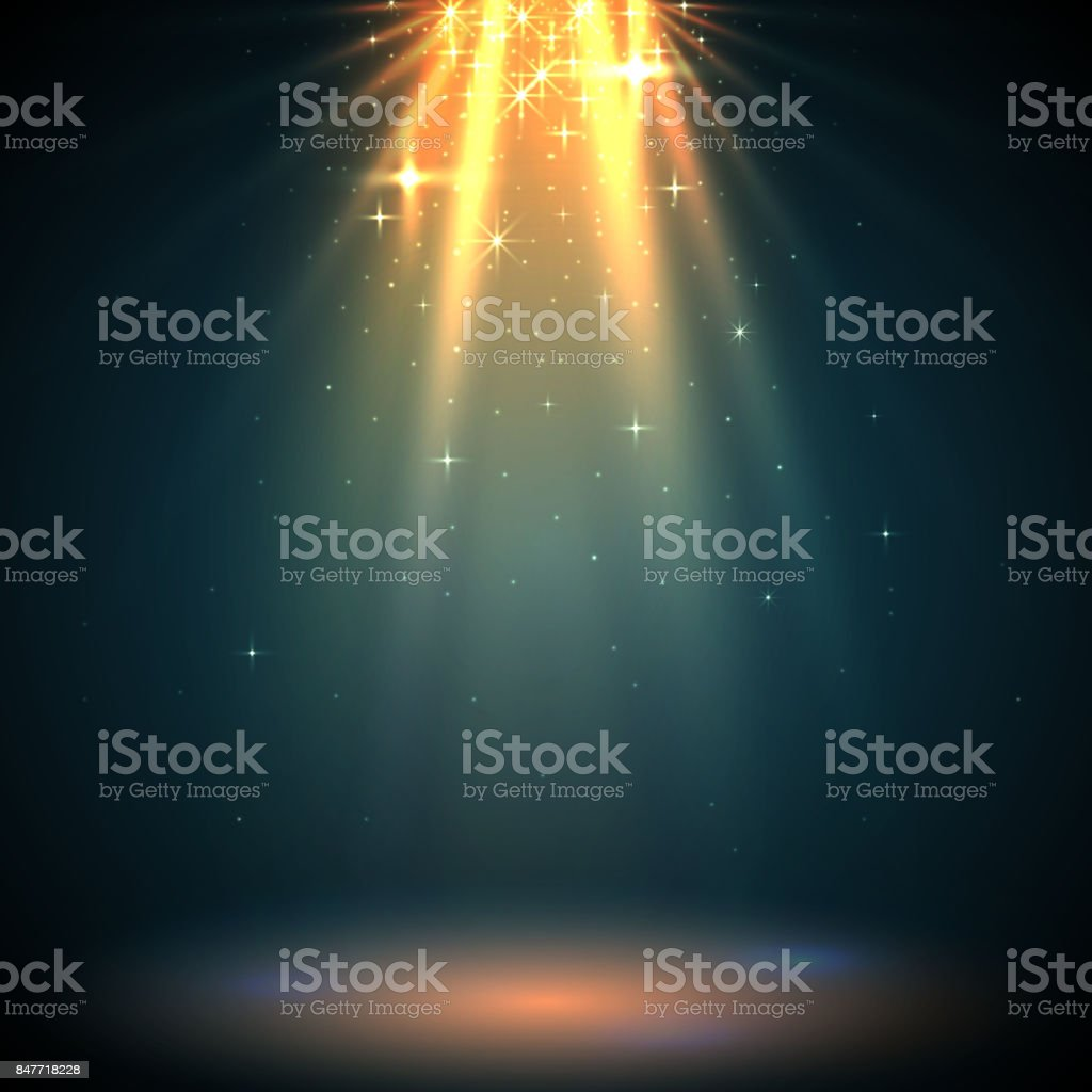 Abstract magic light background. Golden holiday burst. vector art illustration