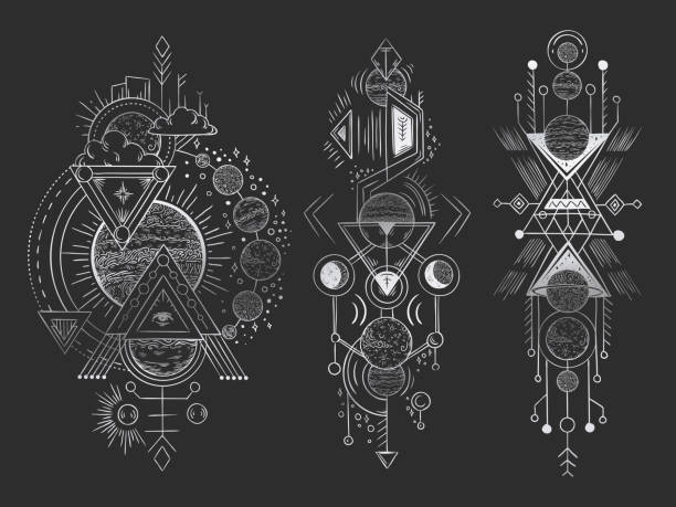 abstract magical tattoo. sacred geometric moon, mystic revelation arrows lines and mysticism harmony hand drawn vector illustration - freemasons stock illustrations