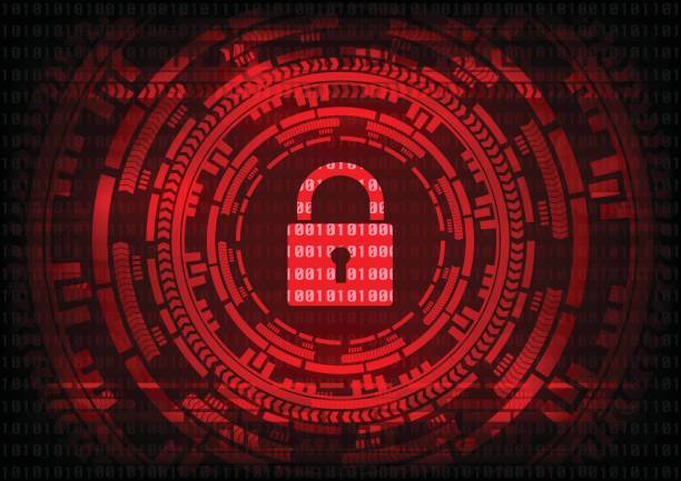 Abstract Malware Ransomware virus encrypted files with keypad on binary bit red background. Vector illustration cybercrime and cyber security concept. vector art illustration