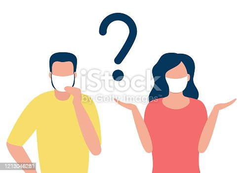 Abstract man and woman in respiratory masks with question mark. Protection against disease. Prevention of disease. Vector illustration.