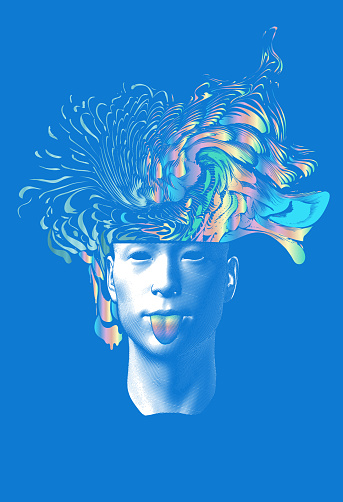 Abstract man stick out tongue with colorful brain splash out on blue BG