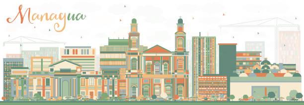 abstrakte managua skyline mit farbe gebäuden. - managua stock-grafiken, -clipart, -cartoons und -symbole