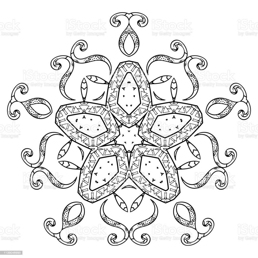 Coloriage Mandala Russe.Coloriage Mandala Abstrait Pour Les Adultes Element Oriental Motif