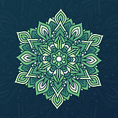 Abstract mandala Zen green floral element.
