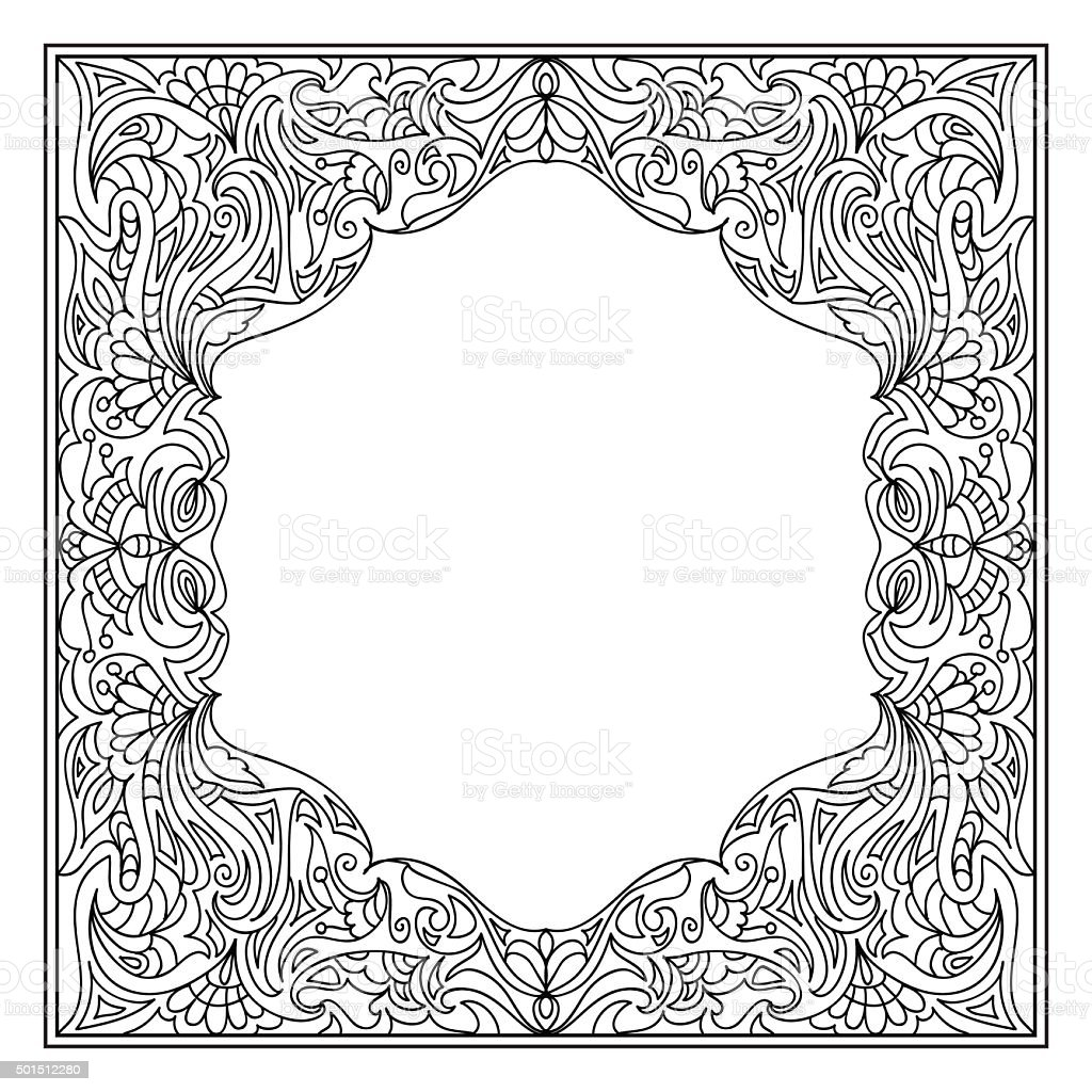 abstract mandala frame coloring page stock vector art more images