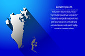Abstract map of Bahrain with long shadow on blue background of vector illustration