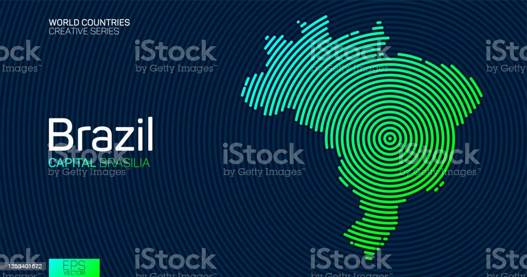 Mapa abstrato do Brasil com linhas de círculo - Vetor de Abstrato royalty-free