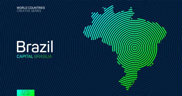 illustrazioni stock, clip art, cartoni animati e icone di tendenza di abstract map of brazil with circle lines - brasile