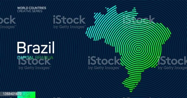 Vetores de Mapa Abstrato Do Brasil Com Linhas De Círculo e mais imagens de Abstrato