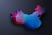 Abstract map of China. Wire frame 3D mesh polygonal