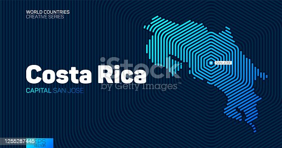 istock Abstract map of Costa Rica with hexagon lines 1255287445