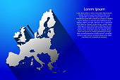 Abstract map of European Union with long shadow on blue background of vector illustration