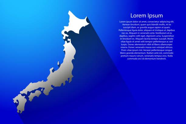 japonya uzun gölge vektör çizim mavi arka plan ile soyut haritası - hiroshima stock illustrations