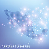 Abstract map of Mexico global network connection. Vector background technology futuristic plexus.