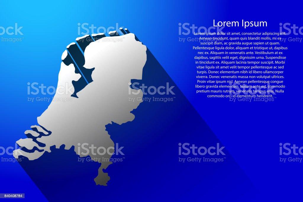 Abstracte kaart van Nederland met lange schaduw op blauwe achtergrond van vectorillustratievectorkunst illustratie