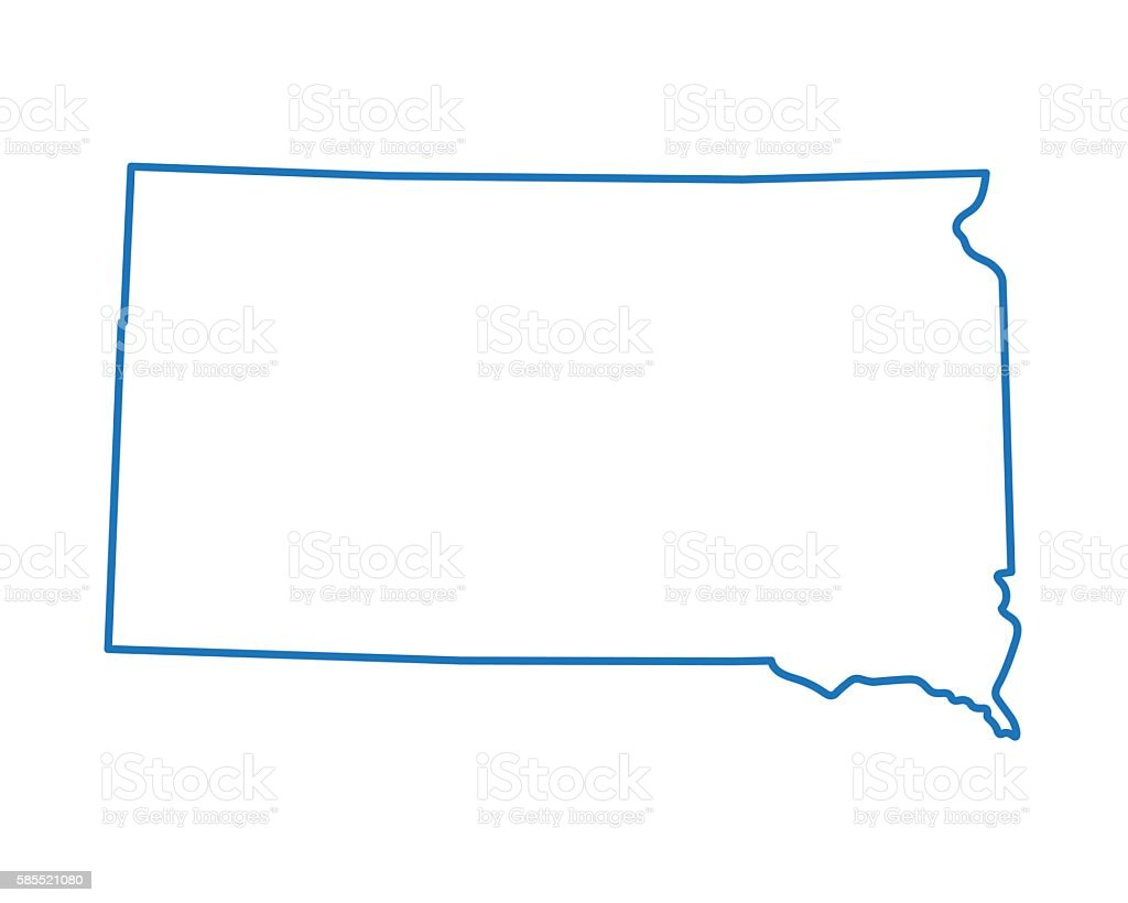 abstract map of South Dakota vector art illustration