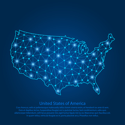Abstract map of the USA created from lines, bright points and polygons in the form of starry sky, space and planets. Map of United States of America with stars, universe and connected line.