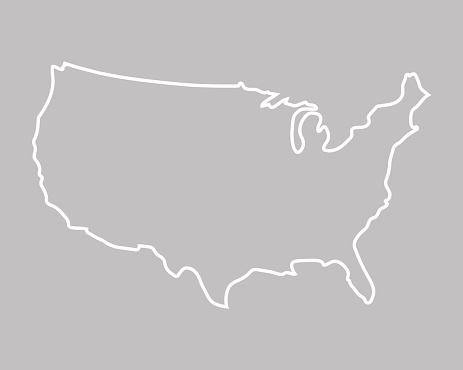white abstract outline of map of United States on grey background