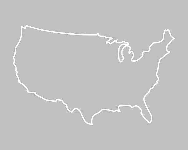 abstract map of United States white abstract outline of map of United States on grey background outline stock illustrations