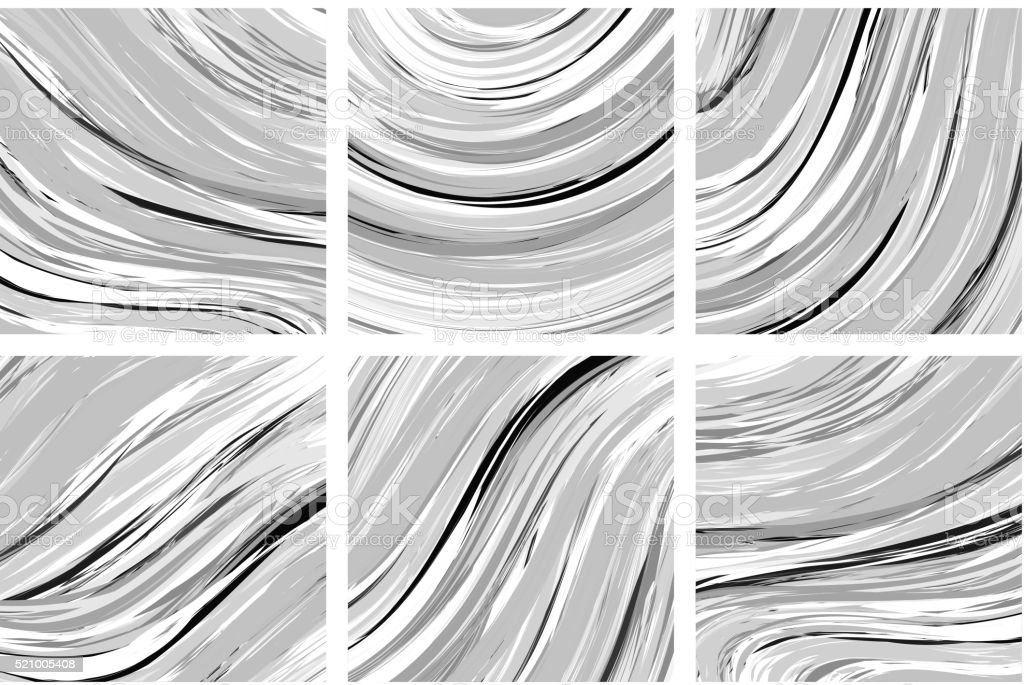 Abstract marble texture. Black and white background. Handmade technique vector art illustration