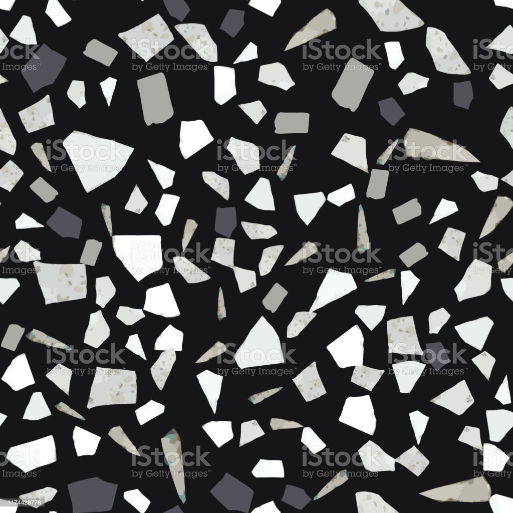 abstract marble wallpaper terrazzo seamless pattern design on black vector id1174428778
