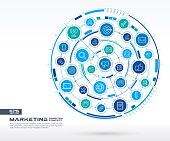 Abstract marketing and seo background. Digital connect system with integrated circles, glowing thin line icons.