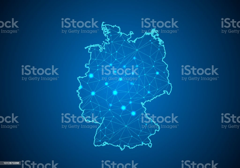 Abstract mash line and point scales on dark background with Map of germany. Wire frame 3D mesh polygonal network line, design sphere, dot and structure. communications map of germany.Vector illustration