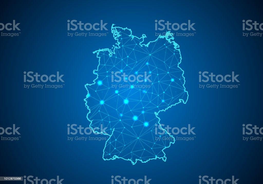 Escalas de linha e ponto abstract mash no fundo escuro com mapa da Alemanha. Linha poligonal rede de fio quadro malha 3D, design esfera, dot e estrutura. mapa de comunicações da Alemanha. Ilustração vetorial - ilustração de arte em vetor