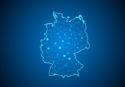 추상 매 시 라인과 포인트 가늠 자 독일의 지도와 어두운 배경에 와이어 프레임 3d 메쉬 다각형 네트워크 라인 디자인 영역 점 및 구조 독일의 통신 지도입니다 벡터 일러스트 레이 션 0명에 대한 스톡 벡터 아트 및 기타 이미지