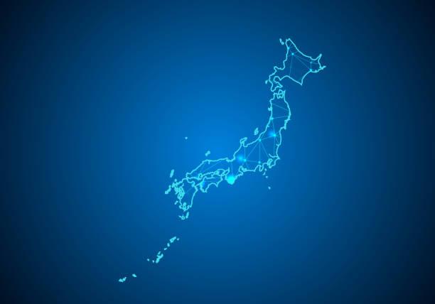 日本地図で暗い背景に抽象的なマッシュ ラインとポイント スケール。ワイヤー フレーム 3 d メッシュ多角形ネットワーク ライン、デザインの球、ドットおよび構造。日本のコミュニケーシ� - 日本 地図点のイラスト素材/クリップアート素材/マンガ素材/アイコン素材