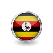 Flag of uganda, button with metal frame and shadow. uganda flag vector icon, badge with glossy effect and metallic border. Realistic vector illustration on white background.