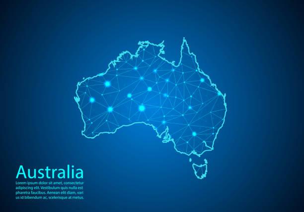 ilustraciones, imágenes clip art, dibujos animados e iconos de stock de línea de puré y escalas de puntos abstractas sobre fondo oscuro con mapa de australia. mejor concepto de internet de negocios de australia de la serie de conceptos. trama de alambre 3d malla poligonal línea de red y puntos. - australia
