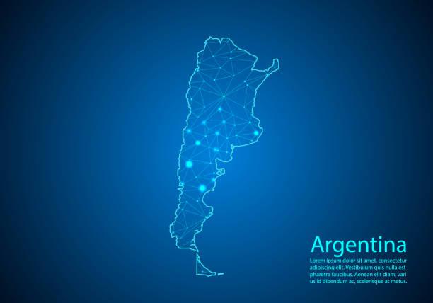 illustrations, cliparts, dessins animés et icônes de ligne abstraite de mash et échelles de point sur le fond foncé avec la carte de l'argentine. meilleur concept internet de l'entreprise argentine de la série de concepts. trame de fil 3d maille polygonale ligne de réseau et points. - argentine