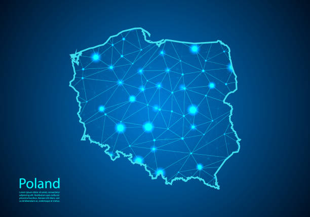 abstract mash line and point scales on dark background with map of poland. best internet concept of poland business from concepts series. wire frame 3d mesh polygonal network line and dots. - polska stock illustrations