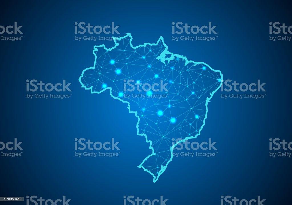 Escalas de linha e ponto abstract mash no fundo escuro com mapa do Brasil. Linha poligonal rede de fio quadro malha 3D, design esfera, dot e estrutura. mapa de comunicações do Brasil. Ilustração vetorial - Vetor de Abstrato royalty-free