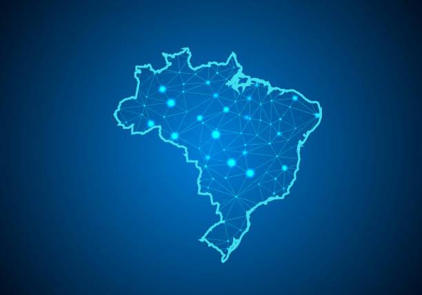 ilustrações, clipart, desenhos animados e ícones de escalas de linha e ponto abstract mash no fundo escuro com mapa do brasil. linha poligonal rede de fio quadro malha 3d, design esfera, dot e estrutura. mapa de comunicações do brasil. ilustração vetorial - brazil