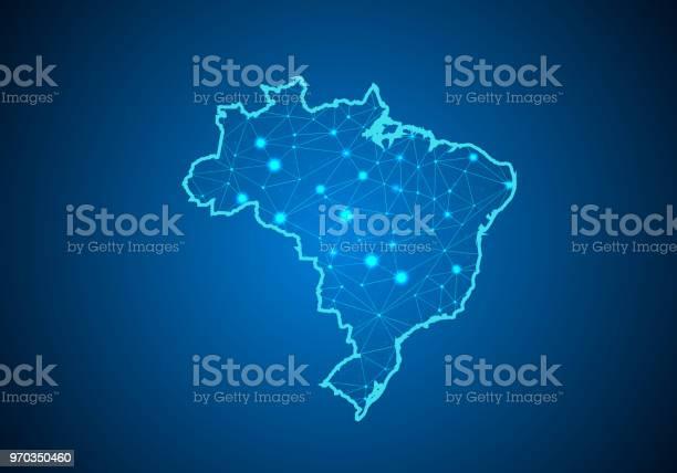 Vetores de Escalas De Linha E Ponto Abstract Mash No Fundo Escuro Com Mapa Do Brasil Linha Poligonal Rede De Fio Quadro Malha 3d Design Esfera Dot E Estrutura Mapa De Comunicações Do Brasil Ilustração Vetorial e mais imagens de Abstrato
