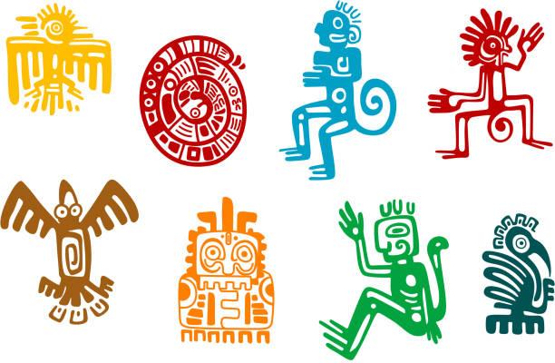 抽象的なマヤとアステカ美術シンボル ベクターアートイラスト