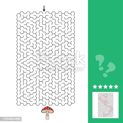 Abstract maze. Find the right path to the cute fly agaric mushroom. Game for kids. Puzzle for children. Labyrinth conundrum, answer included