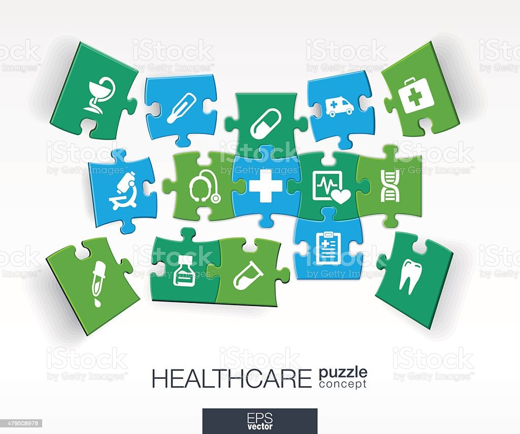 Abstract medical background with connected color puzzles, integrated flat icons. vector art illustration