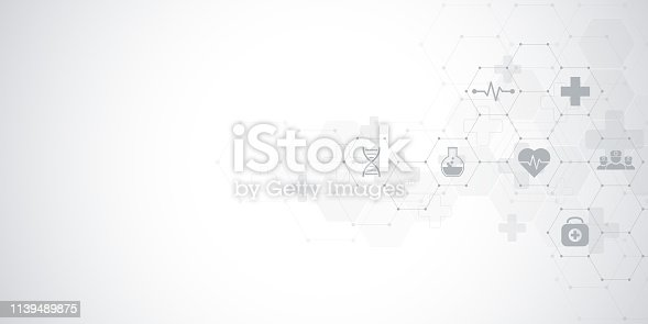 istock Abstract medical background with flat icons and symbols. Concepts and ideas for healthcare technology, innovation medicine, health, science and research. 1139489875