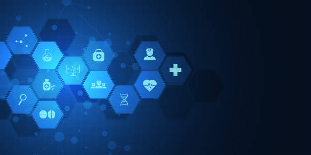 abstract medical background with flat icons and symbols. concepts and ideas for healthcare technology, innovation medicine, health, science and research. - bio tech stock illustrations