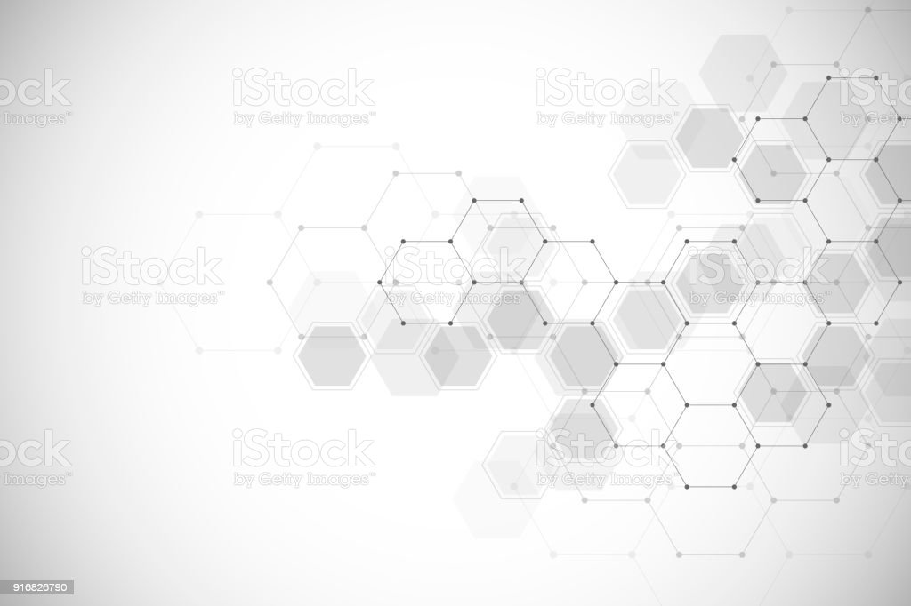 Abstract medical background with molecules structure vector art illustration