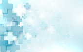 Abstract medical cross shape medicine and science concept  on soft blue background