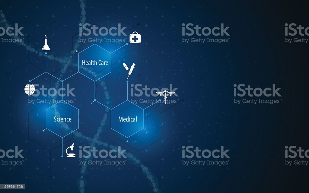 abstract medical health care science concept molecular structure design background vector art illustration