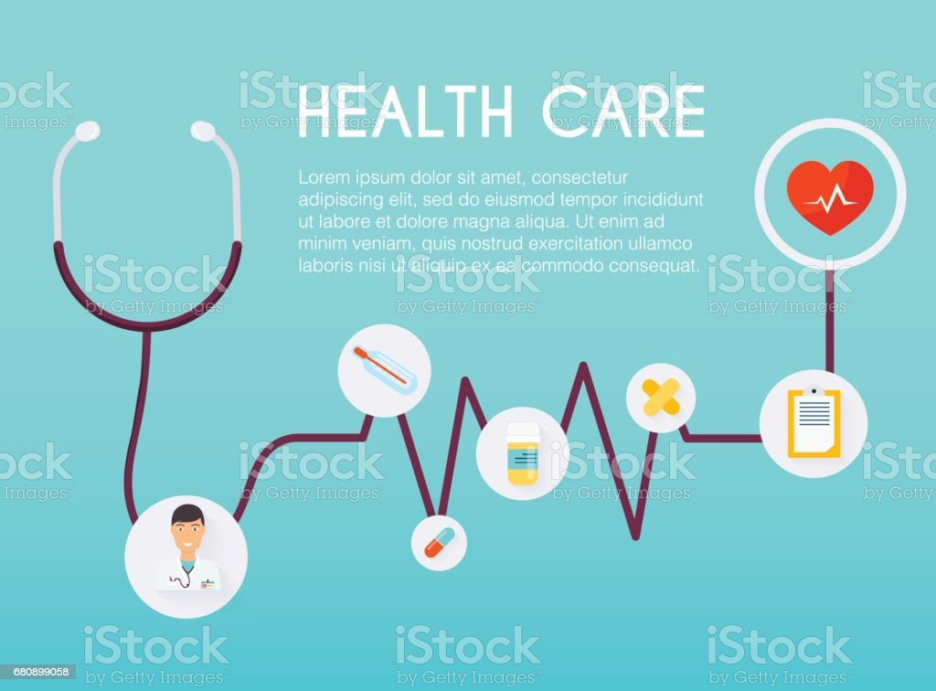 Abstract medical icon with stethoscope. Medical concept.  Flat design style modern vector illustration concept. royalty-free abstract medical icon with stethoscope medical concept flat design style modern vector illustration concept stock vector art & more images of backgrounds