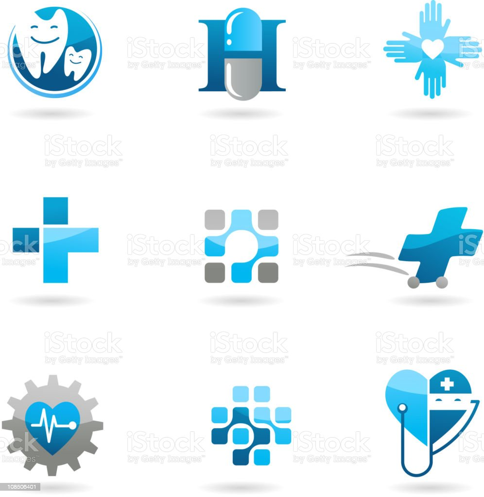 Abstract medical icons vector art illustration