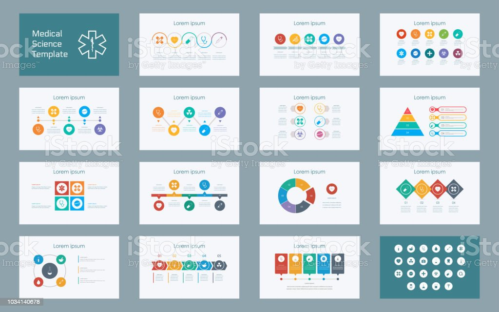 Abstract Medical Sciences infographics presentation slide set with icon in white color background vector art illustration